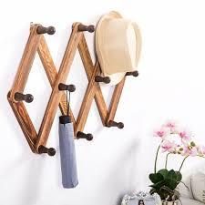 10 hook burnt wood wall mounted expandable accordion peg coat rack hanger decor
