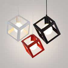 modern pendant lights art deco colorful cube pendant lamp iron cage lamp shade hanging lamp home lighting light fixtures modern hanging light fixtures