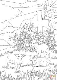 Easter Lambs And Jesuss Cross Coloring Page Free Printable