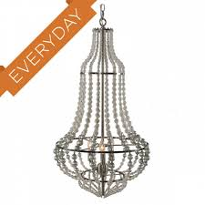 aidan gray genie large silver chandelier made of wooden beads in rustic white and silver leaf