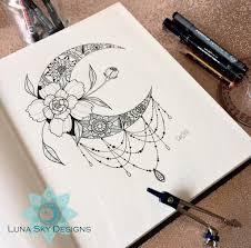 Moon Mandala Design Crescent Moon Mandala Art Curated Eclectics Unique