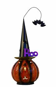 Light Up Witch Hat Amazon Com Transpac Metal Light Up Pumpkin With Witch Hat