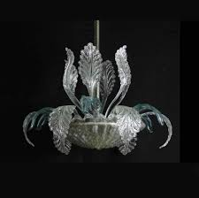 murano chandelier in acanthus leaves