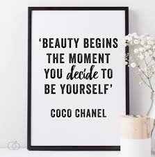 Coco Chanel Quotes On Beauty Best of BE YOURSELF COCO CHANEL PRINT BODY CONFIDENCE ART PRINT