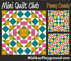 Mini Quilt Club – Pieced Designs   Aiming for Accuracy Pattern Co. & penny-candy-mini-quilt Adamdwight.com