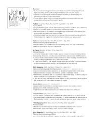 Resume John Mihaly Media