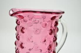 fenton art glass creamer pitcher hobnail cranberry 4 tall