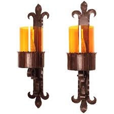 pair of huge spanish 1940s gothic wrought iron and glass wall sconces for