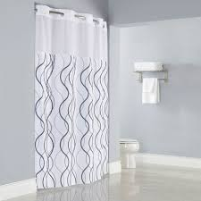 hookless hbh49wav01sl77 white with gray waves shower curtain with hookless fabric shower curtain with snap liner