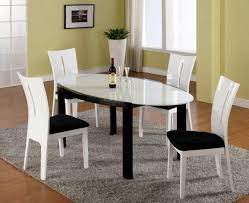 dining room modern dining sets in white and black theme with oval transpa glass dining