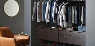 walnut elfa décor mens reach in closet