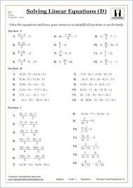solving linear equations math worksheets