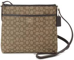 Coach F58285 IMC7C Signature File Bag Crossbody Handbag in Khaki Brown