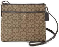 Coach F58285 IMC7C Signature File Bag Crossbody Handbag in Khaki Brown