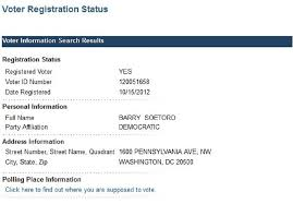 barack obama is not registered to vote in d c but barry soetoro  soetoro voter registration1