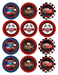 Instant Download Non Personalized Birthday Disney Cars Cupcake