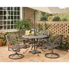 Home Styles Biscayne 48 in. Bronze 5-Piece Round Swivel Patio ...