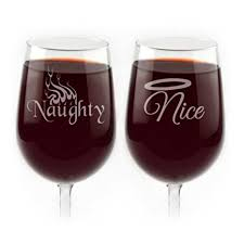 nice wine glasses. Unique Glasses Clever Naughty And Nice Engraved Wine Glasses  Set Of 2 Throughout K