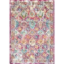 bohemian pink grey polyester area rug and gold