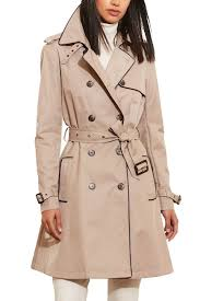 Nordstrom Rack Petite Coats Lauren Ralph Lauren Faux Leather Trim Trench Coat Regular 33