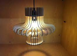 ripple design laser cut wooden hanging lamp shade metal