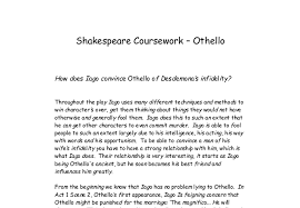 how iago convinces othello of desdemona s infidelity gcse document image preview