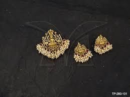 south indian square shape kemp temple pendant set