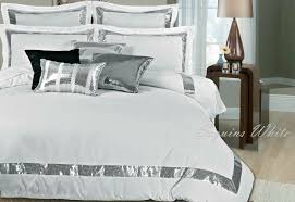 king queen bed sequins white duvet cover