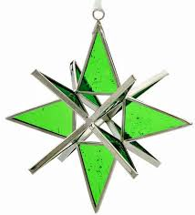handmade ornaments - stained glass-green
