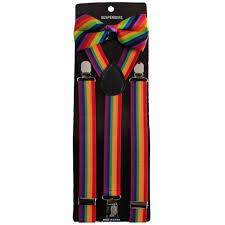 Gay pride suspenders ties