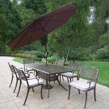 9 piece aluminum outdoor dining set with table 6 cushioned chairs 9 ft metal d umbrella and metal stand