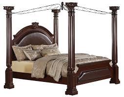 Renaissance Bedroom Furniture Crown Mark Furniture Neo Renaissance King Poster Bed In Dark Walnut