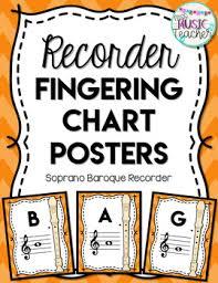 Recorder Fingering Chart Posters Orange Chevrons Soprano Baroque Recorder