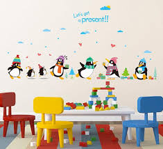 penguin present wall decal sticker kids room nursery wall art mural decor poster penguin with hat wall quote applique cute penguin art wall decal tree wall  on penguin wall art for nursery with penguin present wall decal sticker kids room nursery wall art mural