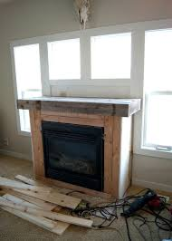 before adding planks reclaimed wood mantel fireplace makeover