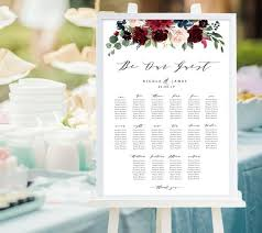 Be Our Guest Table Chart Wedding Sign With Burgundy Flowers Editable In Templett Wedding Reception Printable Sign Bgf