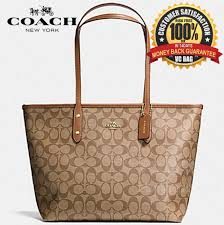 COACH F36876 City Zip Tote in Signature Bag  Light Gold Khaki Saddle