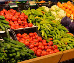 Vegetable Market With Various Fresh Fruits And Vegetables. Supermarket  Stock Photo, Picture And Royalty Free Image. Image 34670399.