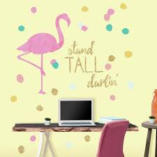 roommates 5 in x 19 in stand tall flamingo 28 piece l and