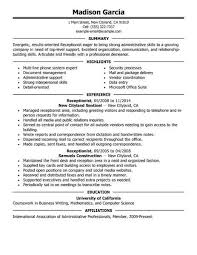 Resume For Receptionist Position
