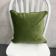 green velvet pillow. Spruce Rentals - Soft Green Velvet Pillow