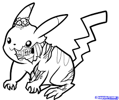 Pikachu Coloring Pages Zombie Pikachu Drawing