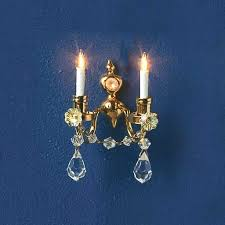 12v double candle crystal wall sconce