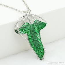 whole trendy the hobbit vintage elf green leaf necklace pendant pin lord of the rings necklace whole costume jewelry lockets from nyc