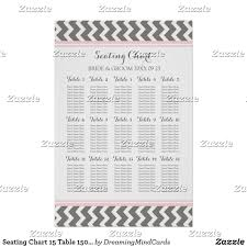 15 Table Seating Chart Seating Chart 15 Table 150 Guest Pink Grey Chevron Zazzle