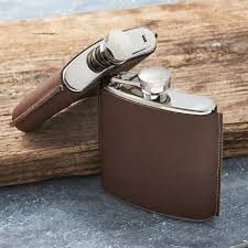 personalised brown leather hip flask engraved leather hip flask personalised with free engraving and black
