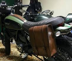 ducati scrambler left side bag in aged leather patina effect