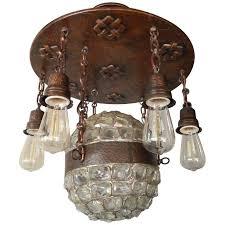 swedish arts and crafts era chunk glass and copper hanging fixture circa 1910 1