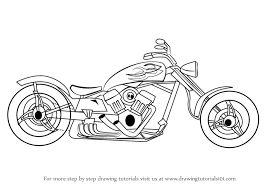 learn how to draw a chopper two wheelers step by step drawing