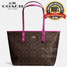 COACH F36876 City Zip Tote in Signature Bag  Gold Brown Fuchsia